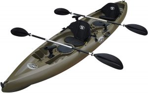 BKC UH-TK181 12-foot 5-inch Sit-on-top Tandem 2 Person Fishing Kayak With Paddles, Seats, And 7 Fishing Rod Holders