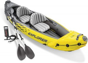 Intex Explorer K2 Kayak, 2-person Inflatable Kayak Set With Aluminum Oars And High Output In Air Pumps