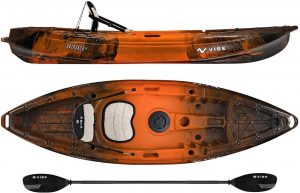 Vibe Kayaks Skipjack 90 9 Foot Angler And Recreational Sit On Top Light Weight Fishing Kayak With Paddle And Seat And 2 Flush Rod Holders And Built-in Storage